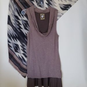 Free People L dress 2 layers cowl neck sleeveless
